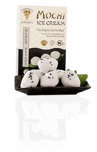 Black Sesame Mochi Ice Cream Box and Plate with Reflection - Black Sesame