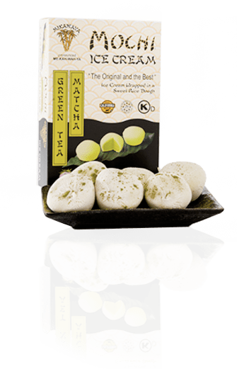 Green Tea Matcha Mochi Ice Cream Box and Plate with Reflection - Green Tea Matcha