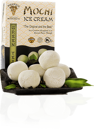 Green Tea Mochi Ice Cream Box and Plate with Reflection