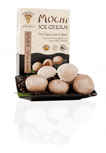 Kona Coffee Mochi Ice Cream Box and Plate with Reflection - Kona Coffee