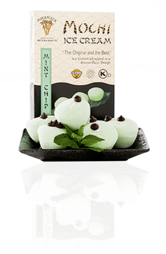 Mint Chip Mochi Ice Cream Box and Plate with Reflection - Mint Chip