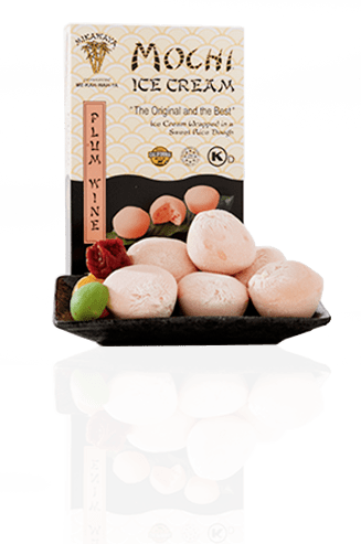 Plum Wine Mochi Ice Cream Box and Plate with Reflection - Plum Wine