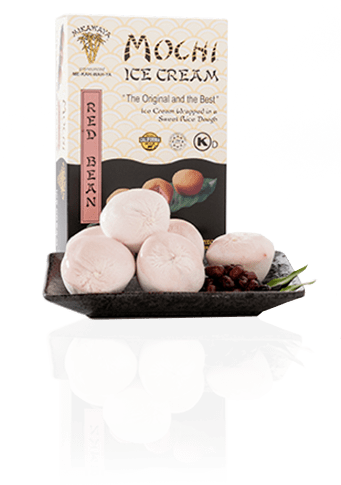 Red Bean Mochi Ice Cream Box and Plate with Reflection - Red Bean